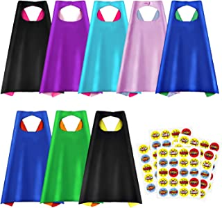 Superhero Capes, Party Dress Up Cape, Reversible Dual Color Party Costume with 100 Superhero Stickers for Kids-8 Packs