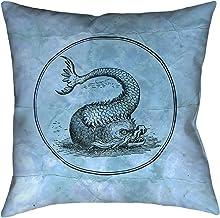 "ArtVerse Katelyn Smith Vintage Blue Sea Monster 18"" x 18"" SMI142I1818O"
