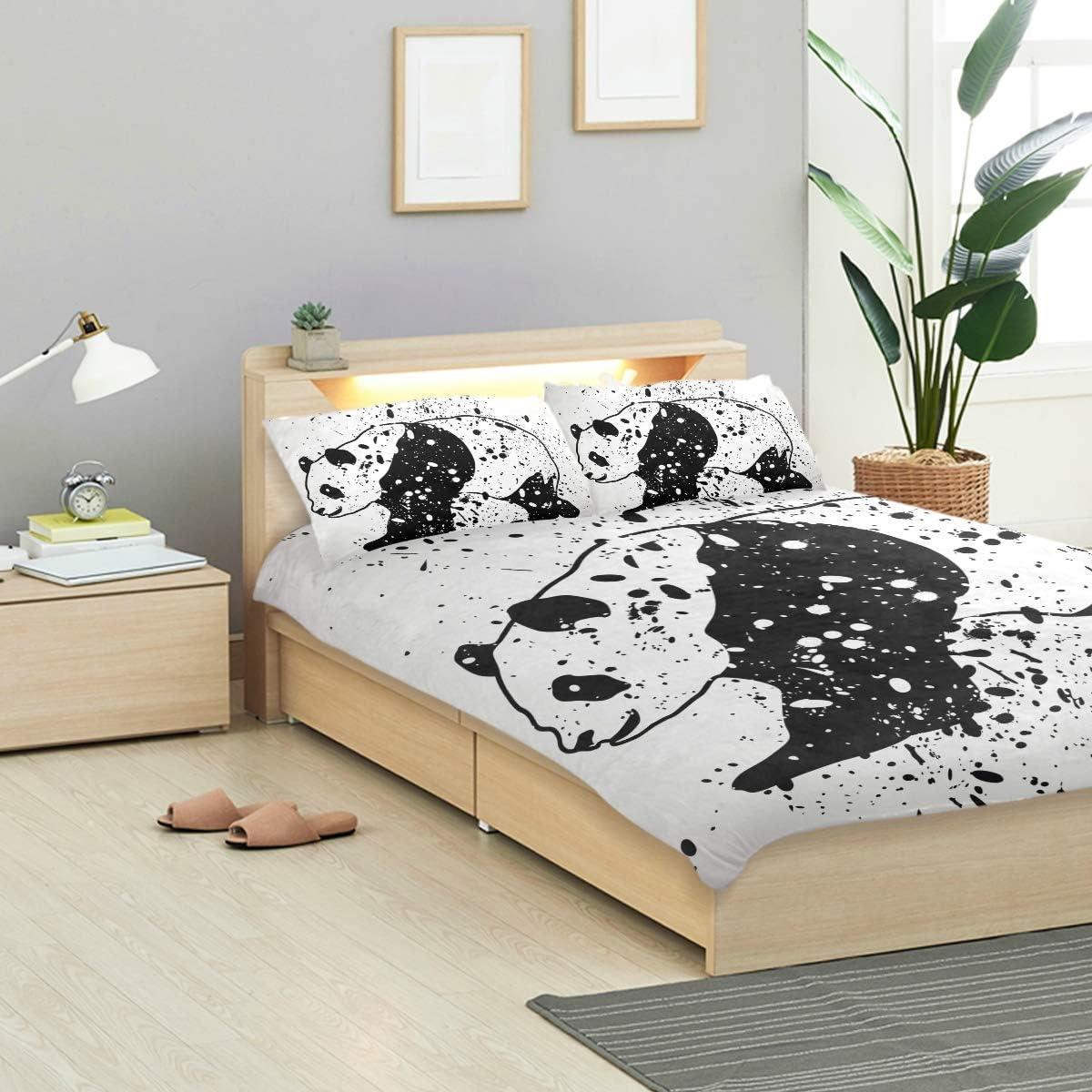 Bennifiry Parure de lit 3 pièces avec Housse de Couette et 2 taies d'oreiller en Coton lavé Bleu et Blanc, Multi#001, Taille Unique Multi#004