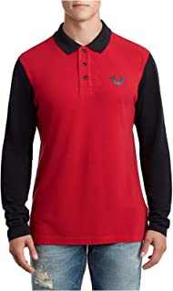 True Religion Men's Horseshoe Logo Long Sleeve Polo Shirt