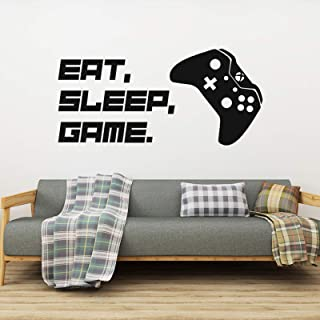 Gamer Wall Decals Game Controller and Eat Sleep Game Quotes Wall Stickers for Playroom, Creative Video Game Wall Posters f...