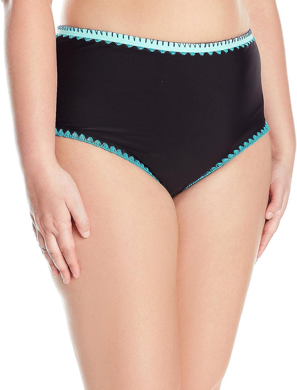Jessica Simpson Women's Plus-Size Woodstock Whipstitch High Waisted Bikini Bottom