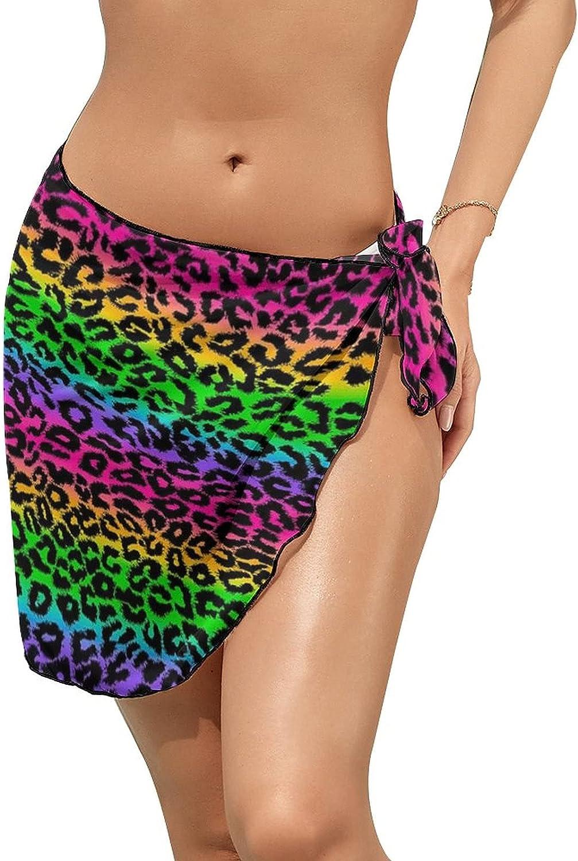 DOUGSUMM Color Tie DyeWomen Short Sarongs Beach Wrap Sheer Bikini Wraps Chiffon Cover Ups for Swimwear