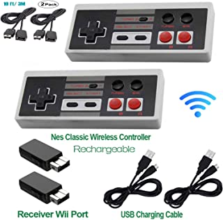 Wireless Controller Rechargeable for Nintendo NES Mini Classic Edition,2.4G Gamepad Entertainment System Console with Receiver,10FT Extension Cable,Super Gaming Joypad Controllers 2 Pack