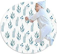 Vita blå blad, barn rund matta polyester överkast matta mjuk pedagogisk tvättbar matta barnkammare tipi tält lekmatta