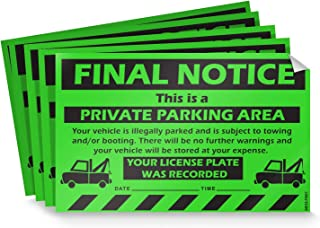 parking deterrent stickers