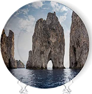 C COABALLA Faraglioni Rocks at Capri Island Coast Art Decorative Ceramic Plates Display Plate Crafts,with Stand,for Living Room of The Home,7''