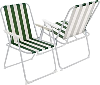 Harbour Housewares Silla Plegable con reposabrazos - Ideal para Playa, jardín o acampadas - Metal - Rayas Verdes - Pack de 4