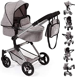 Bayer Design 18410AA Stroller, Doll Combi Pram Neo Vario with Changing Bag and Underneath Shopping Basket, Foldable, Swivel Front Wheels, Grey with Crown
