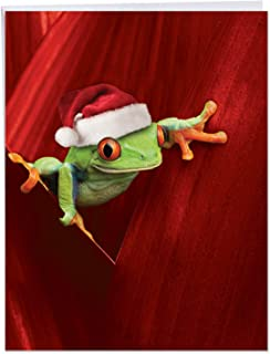 Big Happy Holidays Greeting Card - Yule Frogs Featuring a Colorful Tree Frog in Santa's Hat With Envelope (Large Size 8.5 x 11 Inch) - Cute Merry Christmas Card and Seasons Greetings Gift J1754EXSG