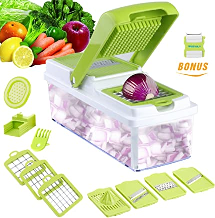 Vegetable Slicer Dicer WEINAS Food Chopper-Cuber-Cutter, Cheese Grater Multi Blades for Onion Potato Tomato Fruit, Extra Peeler Included