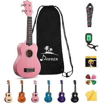 Donner DUS-10K Soprano Ukulele Ukelele Beginner Kit for Kids Students 21 Inch Rainbow with Bag, Strap,Strings, Tuner, Picks, Polishing Cloth - Pink
