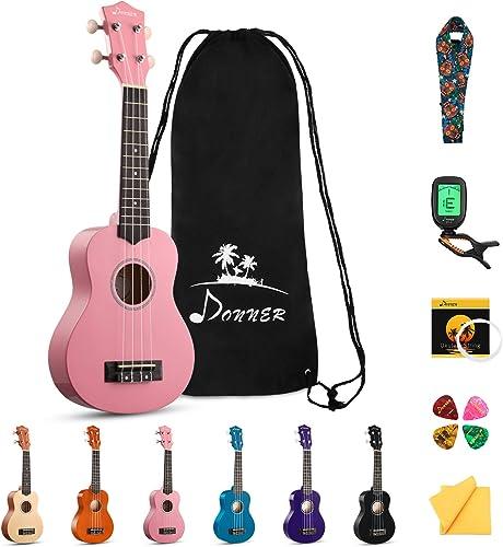 Donner Soprano Ukulele Beginner Kit for Kid Adult Student with Online Lesson 21 Inch Ukelele Bundle Bag Strap String ...