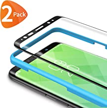 Bewahly Screen Protector for Samsung Galaxy S8 [2-Pack], 3D Curved Full Coverage HD Tempered Glass Screen Protector Film 9H Hardness with Installation Tray for Samsung Galaxy S8 - Black