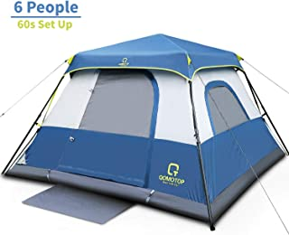 OT QOMOTOP 4/6/10 People Fast 60 Seconds Easy Set Up Instant Cabin Tent, Camping Tent, Provide Top Rainfly, Waterproof Tent Advanced Venting Design, with Electrical Cord Access Port and Gate Mat