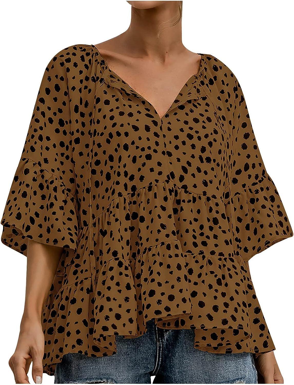 Women's Fashion Leopard Shirt Tops V-Neck Half Sleeve Blouse Casual Loose Tunics