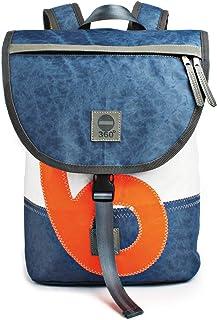 360° Grad Rucksack Landgang Mini Unisex weiß und vintage Blau mit Zahl in Neon Orange Segeltuch-Tasche maritim, wetterfest
