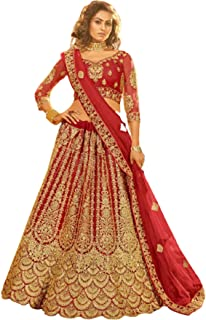 رداء زفاف هندي تقليدي ثقيل مطرز من Red Designer Women - شبكة Lehenga Choli Dupatta 6217