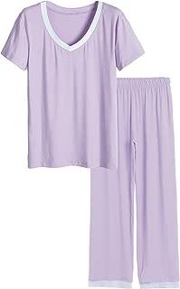 Women's V-Neck Sleepwear Short Sleeves Top with Pants Pajama Set