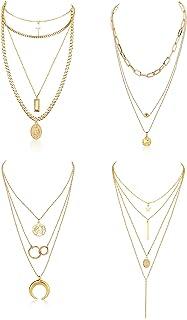 Florideco Juego de 4 collares chapados en oro para mujer, cadena de eslabones multicapa, medallón, gargantilla con cruz y ...