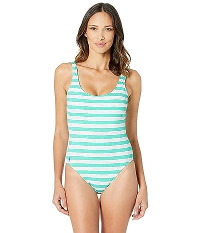 Polo Ralph Lauren Awning Stripe Lace Back Mio One-Piece (Lagoon) Women