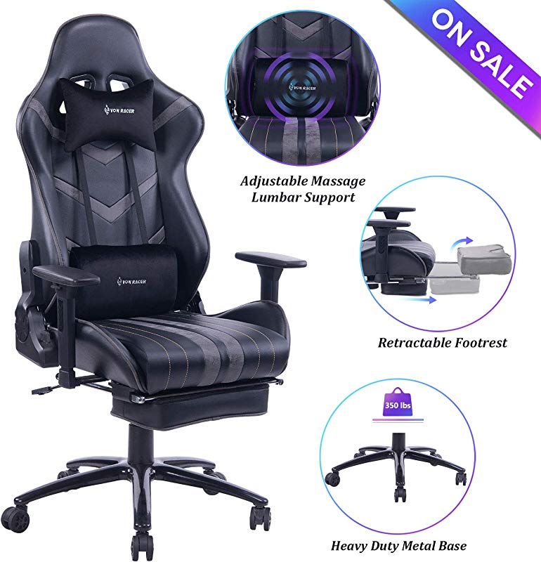 VON RACER Massage Gaming Chair Racing Office Chair Adjustable Massage Lumbar Cushion Retractable Footrest And Arms High Back Ergonomic Leather Computer Desk Chair Gray Black