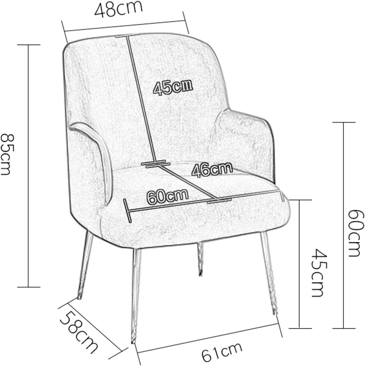 Chaise Simple De Sofa De Flanelle, Fauteuil De Terrasse De Famille d'art De Fer avec Le Jaune De Chaise De Dossier Haut 1111S(Color:Rose foncé) Gris
