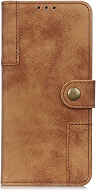 RuiJinHao iPhone XR Flip Case Leather Cover Cell Phone Cover Card Holders Kickstand Extra-Protective Business Brass Button Retro 3 Card Slot Money interlayer (Brown)