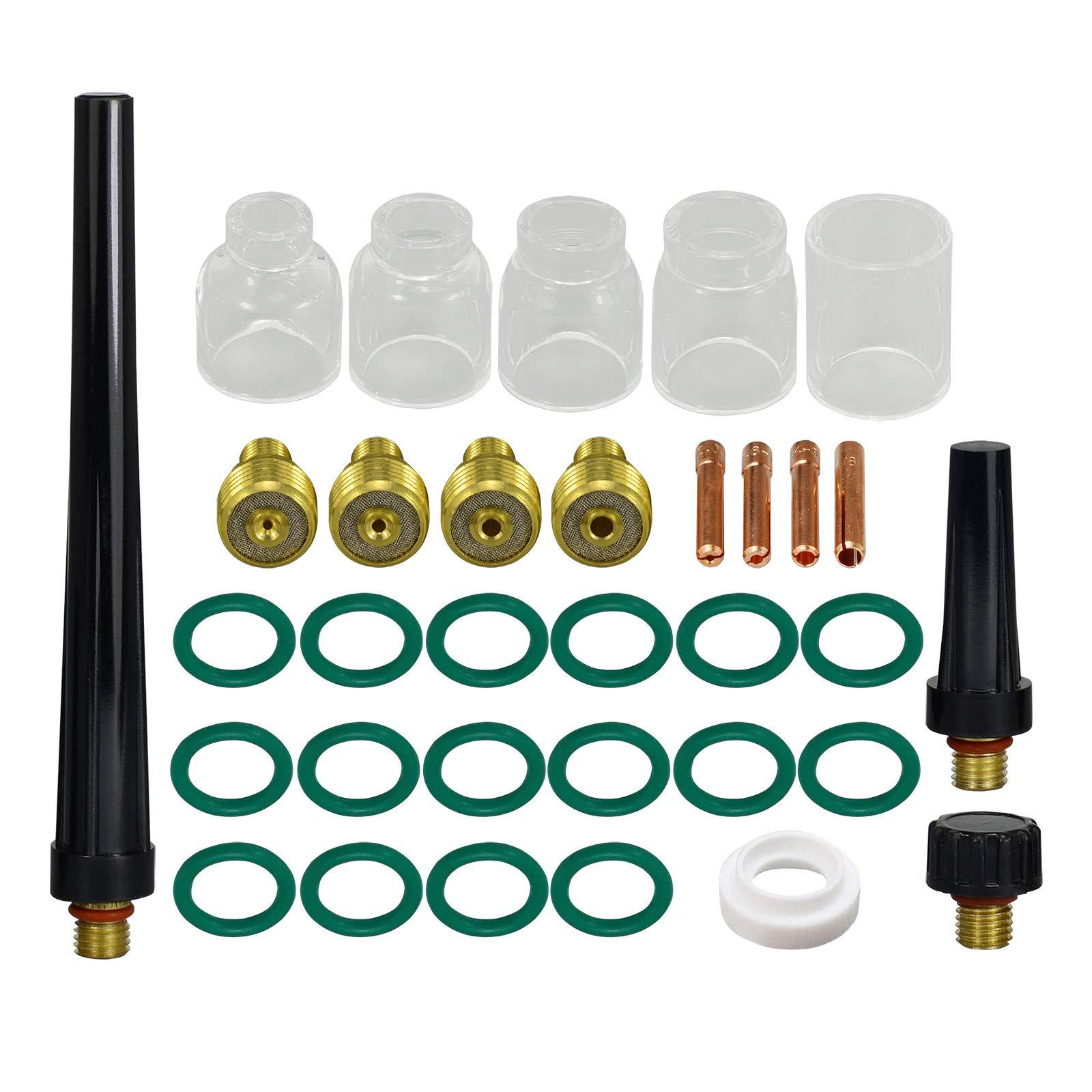 TIG Gas Lens Collet Body 0.040 1//16 3//32 1//8 /& #5#6#7#8#10 Pyrex Cup Kit DB SR WP 9 20 25 TIG Welding Torch 33pcs