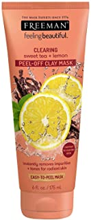 Freeman Clearing Peel Off Clay Facial Mask, Cleansing and Oil Absorbing Beauty Face Mask with Sweet Tea and Lemon, 6 oz, 3...