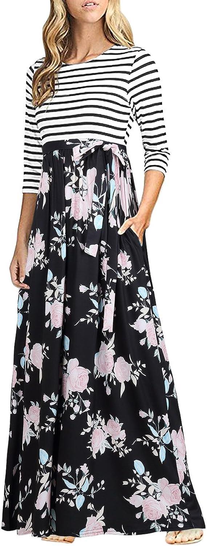 Sunerlory Women's 3 4 Sleeve Striped Floral Print Dress