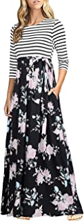 Women's 3/4 Sleeves Striped Floral Print Tie Waist Maxi Dress with Pockets