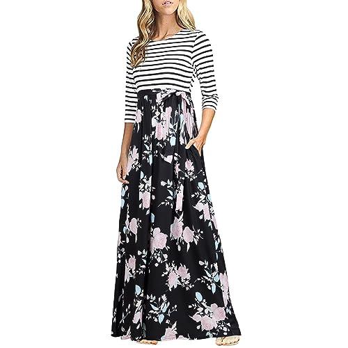 22aa25afa116 HNNATTA Women 3 4 Sleeve Striped Floral Print Tie Waist Party Maxi Dress  with Pockets