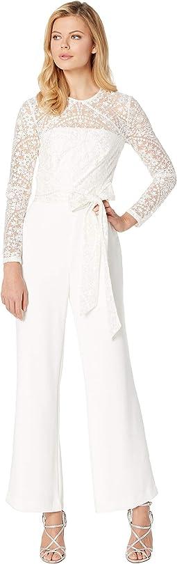 Long Sleeve Lace & Crepe Jumpsuit