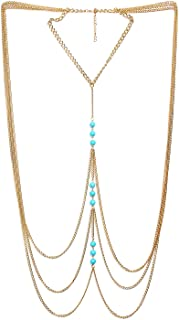 FemNmas Multi Shoulder Heavy Blue Beaded Gold Party Body Necklace Chain for Women
