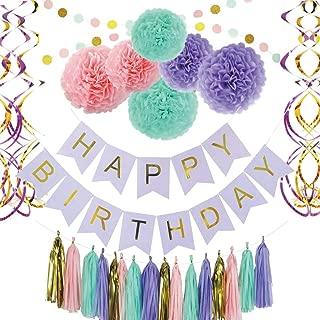 Cieovo Diy Paper Pom Poms with Tissue Paper Tassel, Polka Dot Garland, Pom Poms Flowers, birthday banner, paper Garland, Tassels, Hanging Swirl for Birthday Wedding Showers Party Decorations