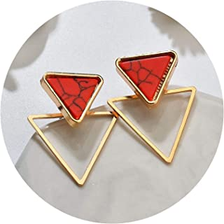 Brand Punk Design Fashion Square Triangle Round Geometric Faux Stone Earring