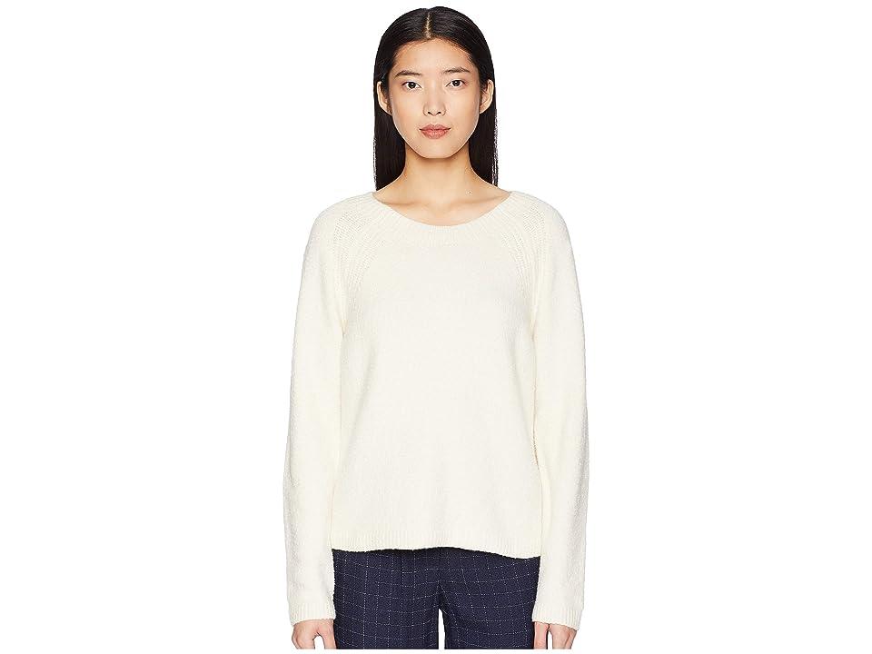 Eileen Fisher Organic Cotton Round Neck Short Box-Top (Soft White) Women