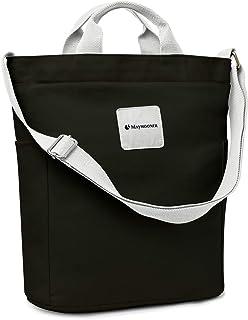 MAYMOONER Frauen Casual Canvas Tote Handtasche Large Capacity Damen Cross Body Umhängetaschen für Shopping School Black