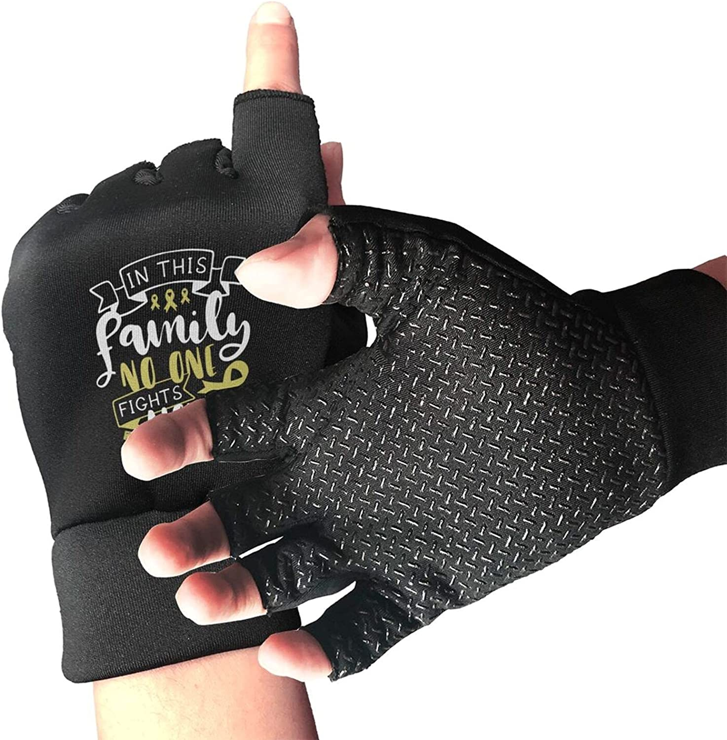 No One Fights Alone Sarcoma Bone Cancer Awareness Non-Slip Working Gloves Breathable Sunblock Fingerless Gloves For Women Men