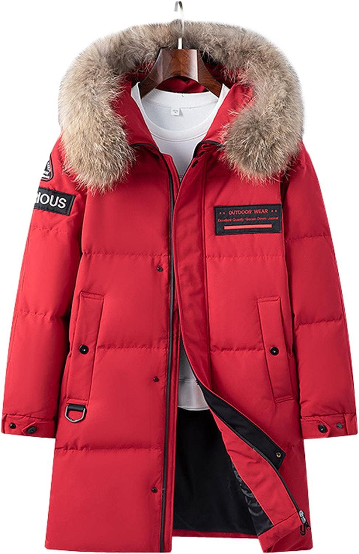 LZJDS Men's Mid-Length Down Jacket Winter Warm Down Puffer Coat with Pockets Fur Hooded Ski Jacket