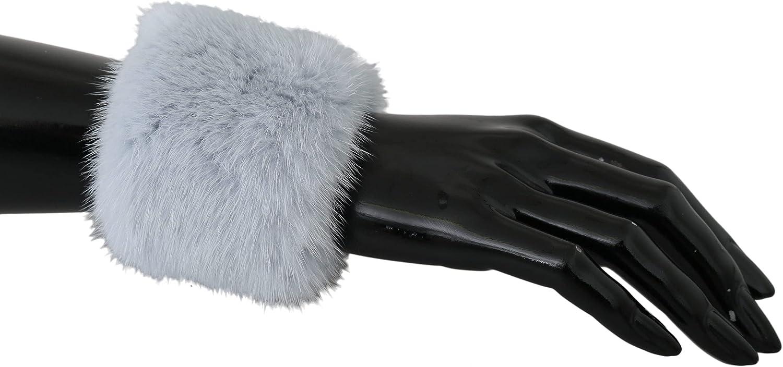 Dolce  Gabbana Light Gray Cuff Women 100% Mink Fur Bracelet