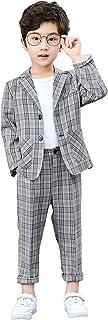 2-częściowy zestaw garnitur dla chłopców kratka, dziecięca blezer i spodnie, odzież rekreacyjna lub odzież na przyjęcie we...