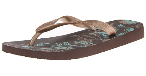 Havaianas Womens Spring Flip Flops Strap Toe Post Pattern Print Textured