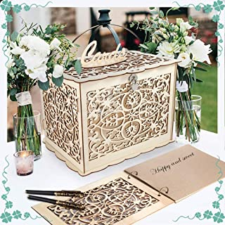 Coodoo Wedding Decorations Card Box and Guest Book Clover Wooden Card Holder Money Box with Security Heart Lock Rustic Supplies for Reception Wedding Baby Shower Birthday Graduation Anni
