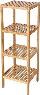 SONGMICS 100% Bamboo Bathroom Shelf 4-Tier Multifunctional Storage Rack Shelving Unit 38.6 x 13 x 13 Inches UBCB54Y