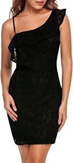 ANGVNS Women Summer Floral Lace one Shoulder Ruffle Bodycon Party Mini Dress