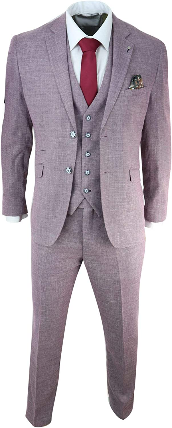 Mens 3 Piece Suit Blush Pink Summer Linen Tailored Fit Wedding Prom Classic