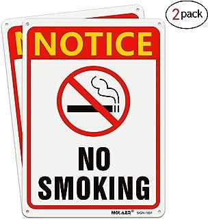 No Smoking Sign, MOLAER 2 Pack Warning Signs 10