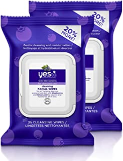 Yes To Superblueberries Skin Recharging Cleansing Facial Wipes for Stressed Skin, 30 Count (Pack of 2)